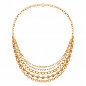 foto of chains  - Many chains golden metallic necklace - JPG