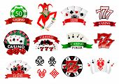image of joker  - Large set of colored casino and poker icons or emblems with tokens - JPG