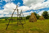 stock photo of haystack  - a landscape with haystack country in Romania - JPG
