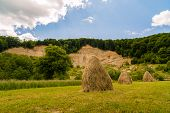 foto of haystack  - a landscape with haystack country in Romania - JPG