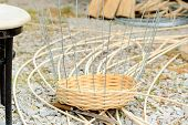 picture of wooden basket  - Wooden material and the start of making a basket - JPG