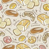 picture of baps  - Background with different breads. Ideal for printing onto fabric and paper or scrap booking - JPG