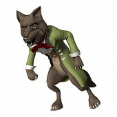 stock photo of white wolf  - 3D digital render of a fairytale wolf isolated on white background - JPG