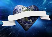 picture of outer  - Heart shaped earth with scroll against outer space - JPG