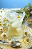 foto of chamomile  - Glass of cold chamomile tea with ice cubes and chamomile flowers on table - JPG