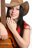 Постер, плакат: Женский музыкант с ее гитара