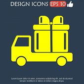 foto of truck-cabin  - truck with a gift vector icon EPS - JPG