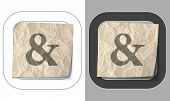 stock photo of ampersand  - set of two icons and crumpled paper with ampersand - JPG
