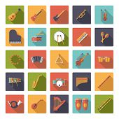 picture of congas  - Musical Instruments Flat Design Vector Icons Collection - JPG