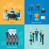 picture of collaboration  - Business design concept set with meeting strategy development and collaboration flat icons isolated vector illustration - JPG