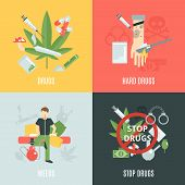 pic of crack addiction  - Drugs design concept set with weeds and addiction flat icons isolated vector illustration - JPG