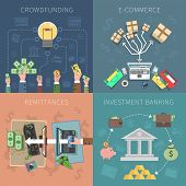 stock photo of internet-banking  - Bank design concept set with crowdfunding e - JPG