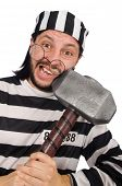 pic of inmate  - Prison inmate with hammer isolated on white - JPG