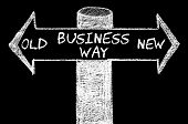 Постер, плакат: Opposite Arrows With Old Versus New Business Way