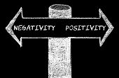 image of positive negative  - Opposite arrows with Negativity versus Positivity. Hand drawing with chalk on blackboard. Choice conceptual image - JPG