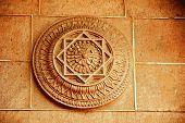 foto of carving  - Carving of lotus petals on stone wall at Meharongarh Fort in Jodhpur Rajasthan India Asia - JPG