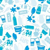pic of milk  - milk and milk product blue theme seamless pattern eps10 - JPG