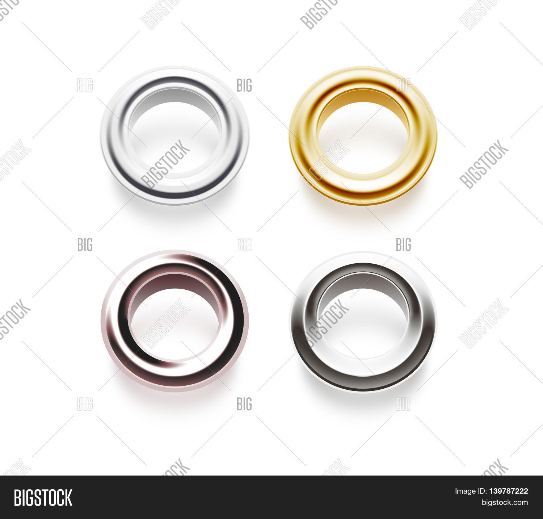 Grommets set isolated 3d illustration Metal satin brass steel