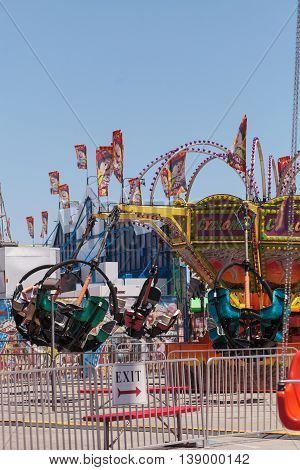 Costa Mesa, CA - July 16, 2016: Tornado ride at the Orange County Fair in Costa Mesa, CA on July 16, 2016.  Editorial use only.