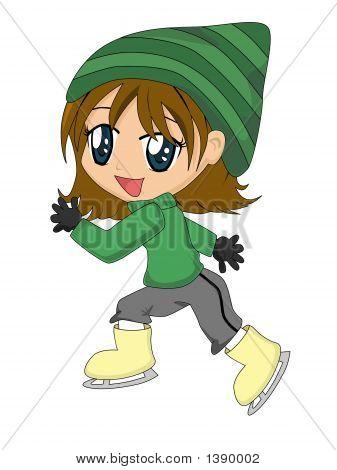 Cartoon Girl On Ice Skates