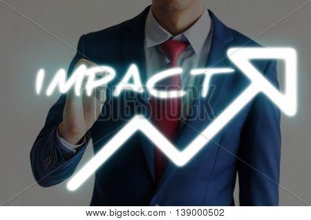 Businessman Drawing Impact And Upward Graph Arrows Forward