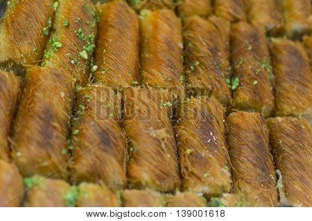 Baklava with pistachio on sale in market