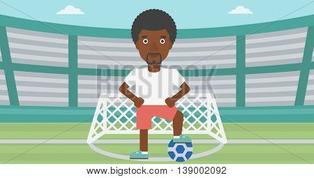 An african-american sportsman standing with football ball on the football stadium. Professional football player with a soccer ball on the field. Vector flat design illustration. Horizontal layout.