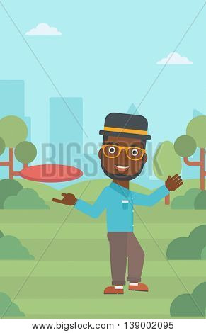 An african-american man playing flying disc in the park. Man throwing a flying disc. Sportsman catching flying disc outdoors. Vector flat design illustration. Vertical layout.