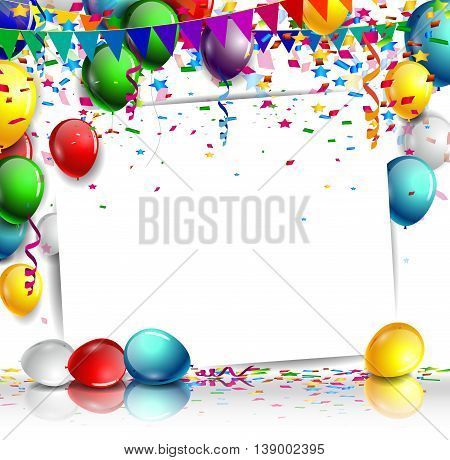 balloons banner sign with party balloons and confetti for you design