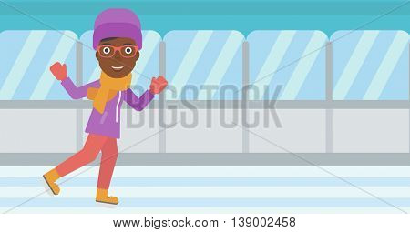 An african-american woman ice skating on indoor ice skating rink. Sport and leisure concept. Vector flat design illustration. Horizontal layout.