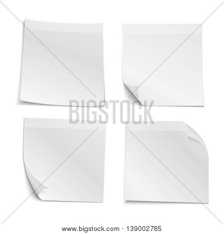 White blank stick note papers vector collection. Reminder note and paper curl note illustration