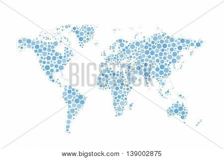World Map made up from modern blue circles different sizes isolated on white