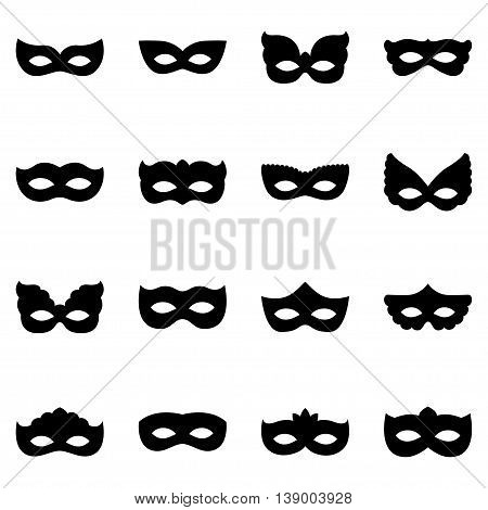 Set of carnival mask silhouettes, vector illustration