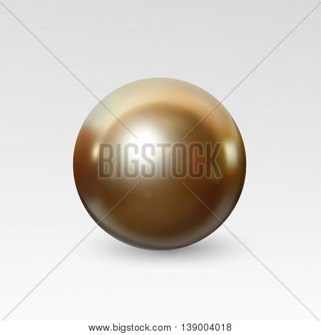 Bright gold pearl realistic isolated on white background. Spherical beautiful 3D orb with transparent glares and highlights for decoration. Jewelry gemstones. Vector Illustration for your design.