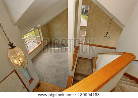 Panoramic View Of Living Room From Upstairs Deck