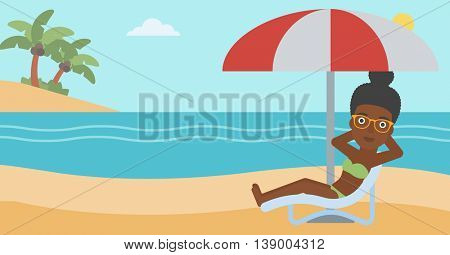 An african-american woman sitting in a chaise longue on the beach. Woman sitting under umbrella on the beach. Woman relaxing on beach chair. Vector flat design illustration. Horizontal layout.
