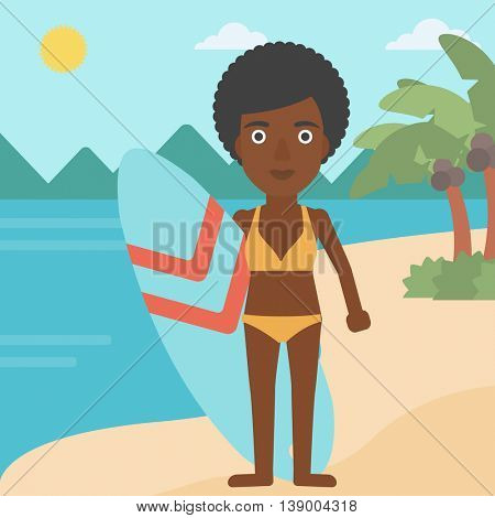 An african-american female surfer standing with a surfboard on the beach. Female professional surfer with a surf board at the beach. Vector flat design illustration. Square layout.