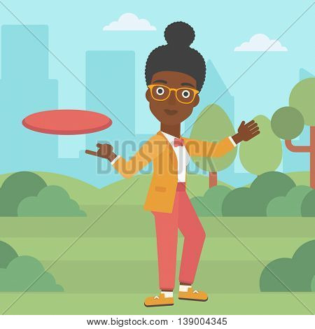 An african-american woman playing flying disc in the park. Young woman throwing a flying disc. Sportswoman catching flying disc outdoors. Vector flat design illustration. Square layout.
