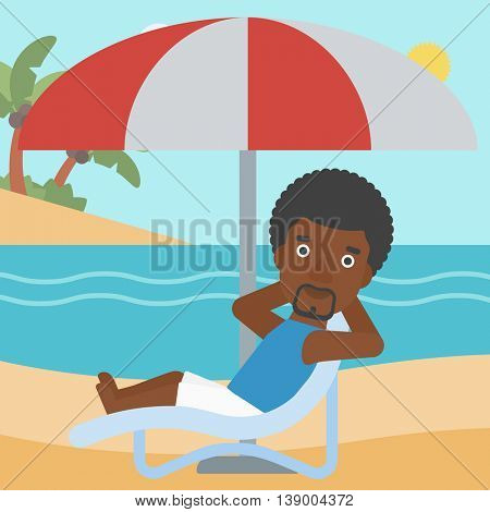 An african-american man sitting in a chaise longue on the beach. An african-american man relaxing while sitting under umbrella on the beach. Vector flat design illustration. Square layout.