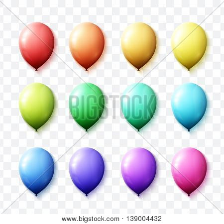 Set realistic color air balloons isolated with transparent. Realistic balls with shadow for decor. Festive scenery