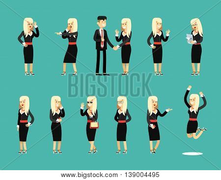 Characters set isolated business woman and man, in black costume vector illustration. Office staff, girl happy face, people success, manager and employee. Business concept in flat.
