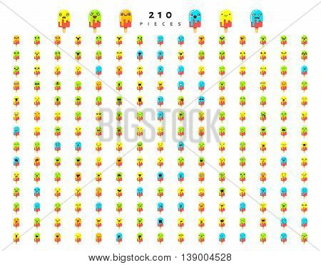 Great set of 210 color emotions isolated on white background. Character emoji for Web. Anger and compassion. Laughter, tears. Smile sadness surprise. Happiness fear.