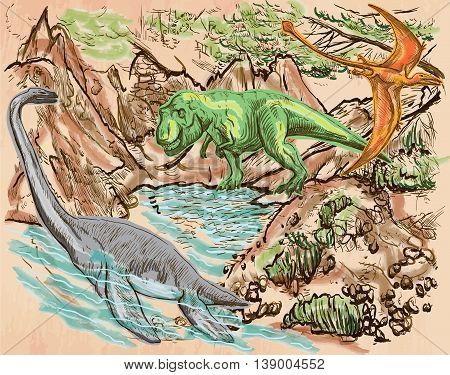 T Rex Plesiosaur and Pterosaur. DINOSAURS. Life in the prehistoric time. Freehand sketching line drawing. Hand drawn vector. Colored background is isolated. Colored Line art. Editable vector.
