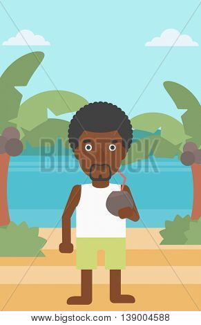 An african-american man with a coconut cocktail on the beach. Man drinking a coconut cocktail on the beach. Man enjoying his vacation. Vector flat design illustration. Vertical layout.