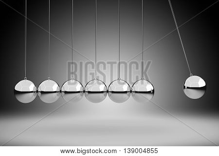 Physics Concept By Newton's Cradle, 3D Rendering