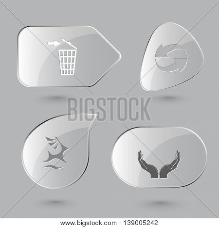 4 images: bin, recycle symbol, deer, human hands. Ecology set. Glass buttons on gray background. Vector icons.