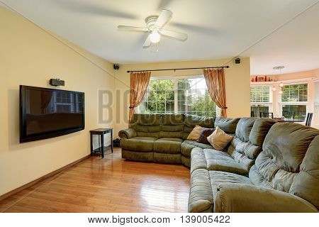 Spacious Living Room Interior With Green Sofa And Hardwood Floor.