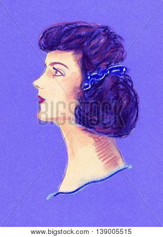 Hand drawn graphic pastel vintage. Portrait an imaginary woman in pin up style. Brunette with long hair combed wavy, blue ribbon, bow. Textured purple paper. For prints, home interior.