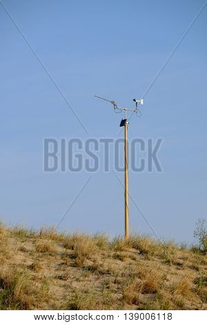Weather station at Big Sable Point Dunes, Michigan, USA