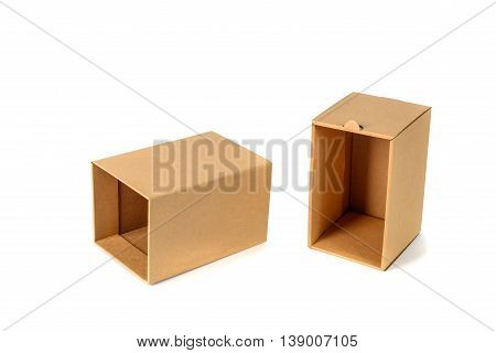Brown Cardboard Box Package With Cover, Isolated On White Background